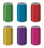 Tenn- cans för drink, aluminum färgrika behållare royaltyfri illustrationer