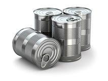 Tenn- cans för mat på vit isolerad bakgrund. Royaltyfri Foto