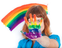 A tenn-gerl is showing her painting hand Royalty Free Stock Photos