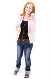 Tenn girl with mp3 player Stock Photos