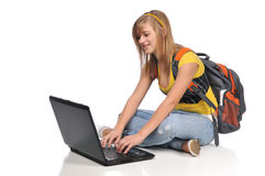 Tenn student with laptop Stock Images