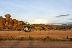 Tennant Creek, Australia - December 28, 2008: Tourist camping near Devils Marbles, Australia, outback royalty free stock image