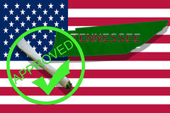 Tennessee on cannabis background. Drug policy. Legalization of marijuana on USA flag, Royalty Free Stock Images