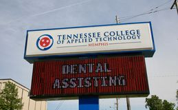 Tennessee College of Applied Technology Memphis. Tennessee College of Applied Technology sign with Dental assisting of the marquee Royalty Free Stock Image
