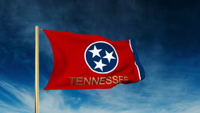 Tennessee flag slider style with title. Waving in vector illustration