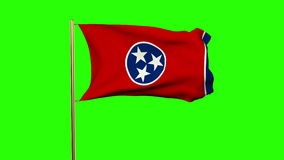 Tennessee flag waving in the wind. Green screen. Alpha matte. Loops animation stock video footage