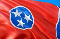 Tennessee-Flagge 3D, das USA-Staatsflaggenentwurf wellenartig bewegt Das nationale US-Symbol von Tennessee-Staat, Wiedergabe 3D N stockfotos