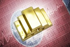 Tennessee gold reserves. Shining golden bullions lie on a tennessee state flag background Stock Photography