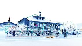 Tennessee house decorated lighting for Christmas negative finish Royalty Free Stock Photography