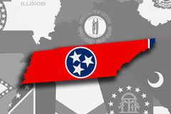 Tennessee map and flag Stock Photo