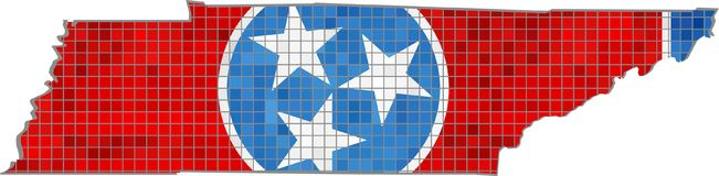 Tennessee map with flag inside Royalty Free Stock Image