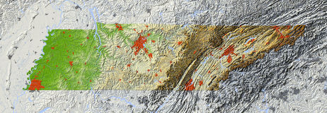 Tennessee, mapa de relevo Fotos de Stock Royalty Free