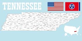 Tennessee okręgu administracyjnego mapa Zdjęcie Stock