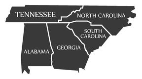 Tennessee, Pólnocna Karolina, Alabama, Gruzja, Południowa Karolina - - Zdjęcia Stock