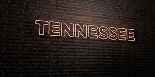 TENNESSEE -Realistic Neon Sign on Brick Wall background - 3D rendered royalty free stock image Stock Photo