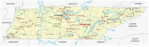 The tennessee road map. The tennessee road vector map vector illustration