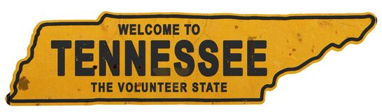 Tennessee Roadsign Welcome to Tennessee Sign State Shape royalty free stock image