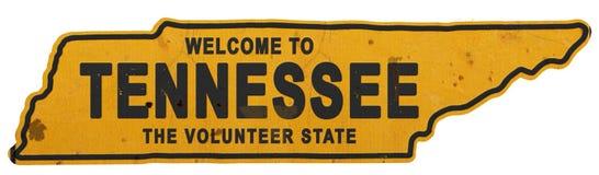 Tennessee Roadsign Welcome zu Tennessee Sign State Shape lizenzfreies stockbild