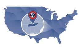 Tennessee State ampliou no mapa do Estados Unidos ilustração stock