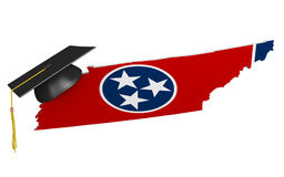 Tennessee state college and university education concept, 3D rendering. Tennessee education concept of a 3D state map icon and a university graduate mortarboard Royalty Free Stock Photo