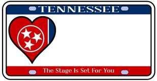 Tennessee State License Plate illustration stock