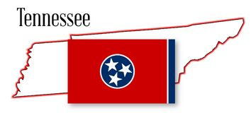 Tennessee State Map and Flag Stock Photography