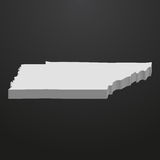 Tennessee State map in gray on a black background 3d Stock Images