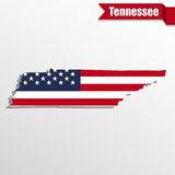 Tennessee State map with US flag inside and ribbon Royalty Free Stock Images