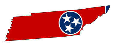 Tennessee State Outline Map en Vlag Stock Foto's