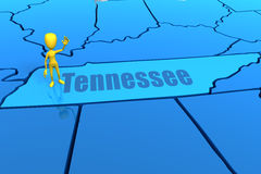 Tennessee state outline with yellow stick figure Stock Photos