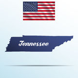 Tennessee state with shadow with USA waving flag Royalty Free Stock Photo