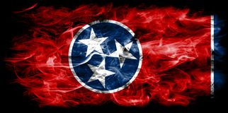 Tennessee state smoke flag, United States Of America. On a black background royalty free stock photos