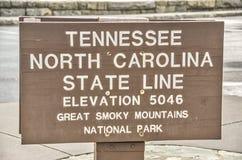 Tennessee und Nord-Carolina State Lines Sign Stockbild