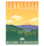Tennessee, United States travel poster. Or luggage sticker. Scenic illustration of the Great Smoky Mountains with pine trees and sunrise Royalty Free Stock Photo