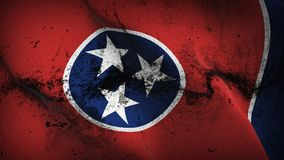 Tennessee US State grunge dirty flag waving on wind. United States of America Tennessee background fullscreen grease flag blowing on wind. Realistic filth Stock Images