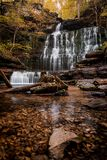 Tennessee Waterfall in the Fall. Machine Falls Waterfall in Tennessee with fall color Stock Photos