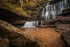 Tennessee Waterfall in the Fall. Machine Falls Waterfall in Tennessee with fall color Stock Image