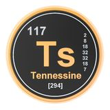 Tennessine Ts chemical element. 3D rendering. Isolated on white background stock illustration
