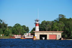 Tenney Park locks. A view of the Tenney Park locks and boat house from Lake Monona in Madison, Wisconsin Stock Images