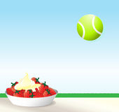 Tennis. An illustration of strawberries and cream with a tennis ball against blue sky. Wimbledon concept with space for text Royalty Free Stock Photography
