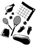 Tennis. The image of accessories for game in tennis. A vector illustration Stock Image