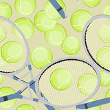 Tennis. Seamless background with tennis ball and racket Royalty Free Stock Images