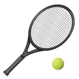 Tennis. Isolated image of a tennis racket and ball. Vector illustration Stock Image