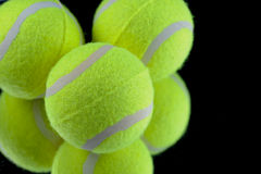 Tennis. New Tennis Balls shot on Black background stock photo