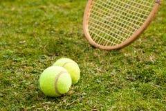 Tennis. Raquet and  balls stock photos