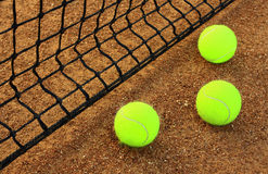 Tennis. Balls on the court Royalty Free Stock Image