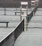 Tennis. Courts with the umpire chairs all in a row Stock Image