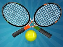 Tennis. Illustration of a tennis racquet with a ball stock illustration