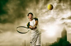 Tennis. Young tennis player in action stock images
