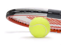 Tennis. Racket on tennis ball isolated on white Royalty Free Stock Photo